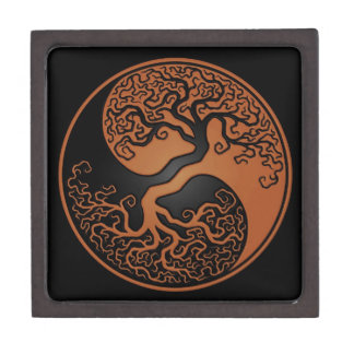 Brown and Black Tree of Life Yin Yang Jewelry Box