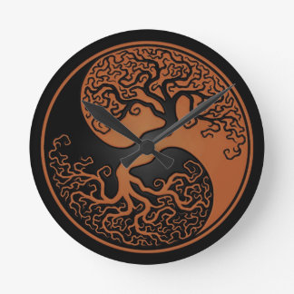 Brown and Black Tree of Life Yin Yang Round Clock