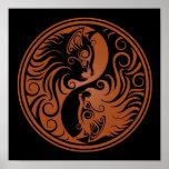 Brown and Black Yin Yang Cats Posters