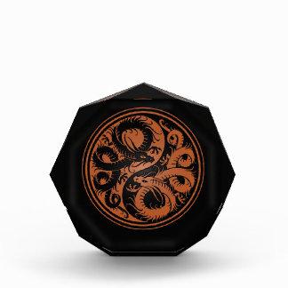 Brown and Black Yin Yang Chinese Dragons Acrylic Award