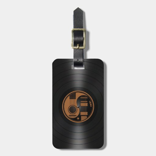 Brown and Black Yin Yang Guitars Vinyl Graphic Tag For Luggage