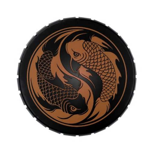 Brown and Black Yin Yang Koi Fish Jelly Belly Candy Tins