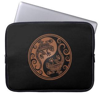 Brown and Black Yin Yang Lizards Laptop Sleeves