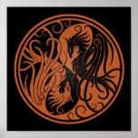 Brown and Black Yin Yang Phoenix Poster