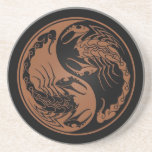 Brown and Black Yin Yang Scorpions Drink Coaster