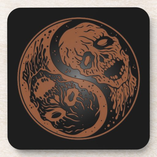Brown and Black Yin Yang Zombies Beverage Coaster