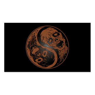 Brown and Black Yin Yang Zombies Business Cards