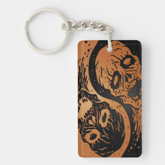 Brown and Black Yin Yang Zombies Keychain