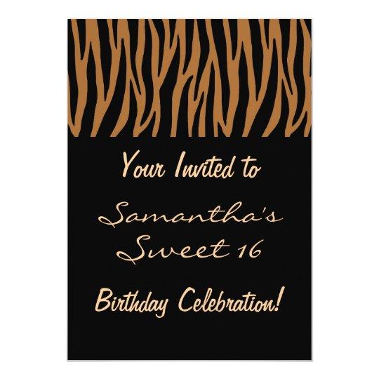 Brown and Black Zebra Invites