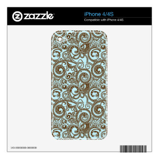 Brown And Blue Abstract Ornate Swirls Pattern iPhone 4 Skin