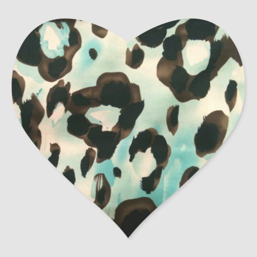 Brown And Blue Animal Print Heart Stickers