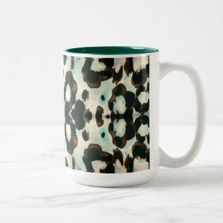 Brown And Blue Animal Print Two-Tone Coffee Mug