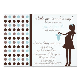 Brown and Blue Baby Boy Shower Invitation