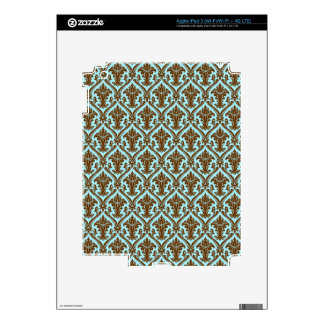 Brown And Blue Beautiful Retro Pattern Shading Decal For iPad 3