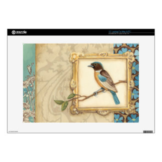 Brown and Blue Bird on a Branch Looking Up Laptop Skin