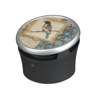 Brown and Blue Bird on a Branch Looking Up Bluetooth Speaker