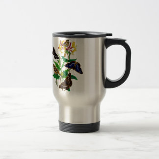 Brown and Blue Butterflies and Red Honeysuckle Travel Mug