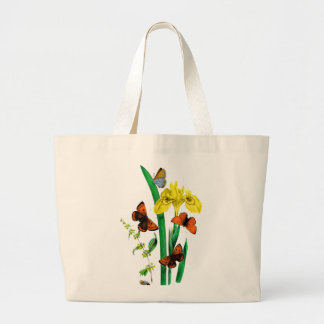 Brown and Blue Butterflies Around Yellow Iris Bags