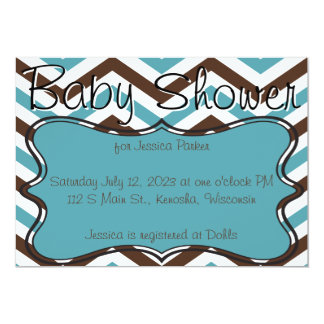 "Brown and Blue Chevron Baby Shower Invitations 5"" X 7"" Invitation Card"