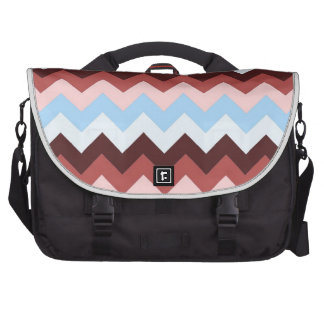 Brown and Blue Chevrons Laptop Bag