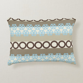 Brown and Blue Circles and Snowflakes Stripes Accent Pillow