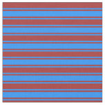 [ Thumbnail: Brown and Blue Colored Stripes Fabric ]