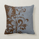 Brown and Blue Contemporary Swirl Throw Pillow