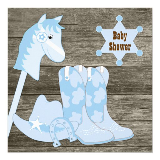 brown and blue cowboy boots cowboy baby shower square invitation