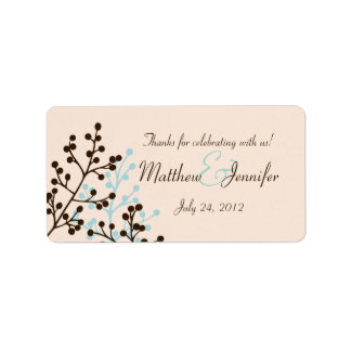 Brown and Blue Custom Wedding Favor Label Stickers Address Label