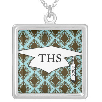 brown and blue diamond lovely damask graduation square pendant necklace
