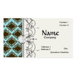 brown and blue diamond lovely damask pattern business cards