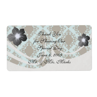 brown and blue diamond lovely damask pattern shipping label