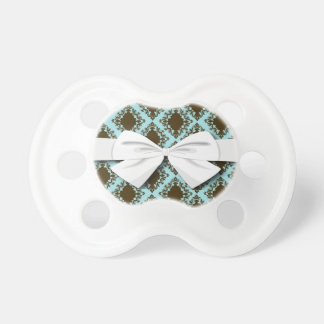 brown and blue diamond lovely damask pattern pacifier