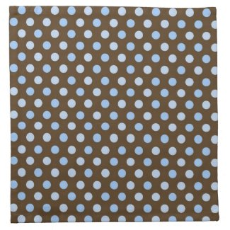 Brown and Blue Dot Cloth Cocktail Napkins