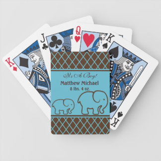 Brown and Blue Elephant Baby Boy Announcement Bicycle Playing Cards