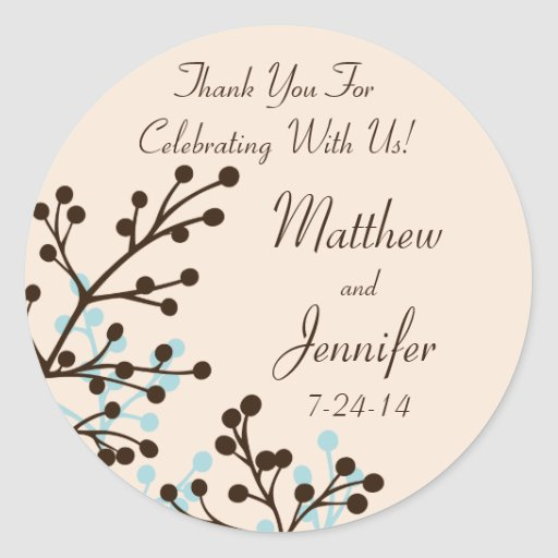 Brown and Blue Floral Custom Wedding Favor Labels Round Sticker