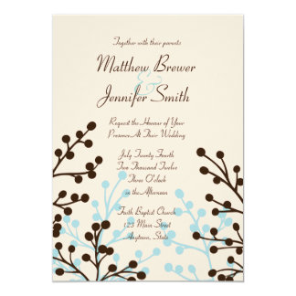 "Brown and Blue Floral Custom Wedding Invitation 5"" X 7"" Invitation Card"