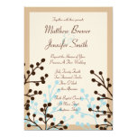 Brown and Blue Floral Custom Wedding Invitation Custom Invites