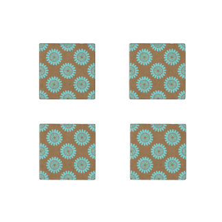 Brown And Blue Floral Pattern Magnets