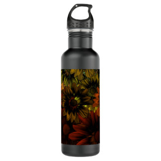 Brown and blue floral pattern water bottle