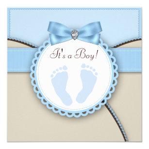 Footprint baby shower invitations zazzle brown and blue footprint baby shower invitation filmwisefo