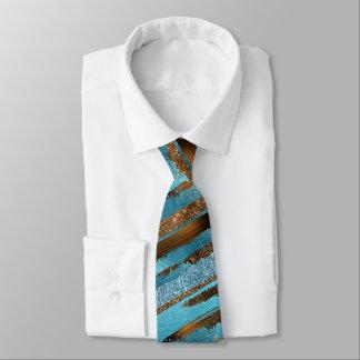 Brown and Blue Glitter Shine Neck Tie
