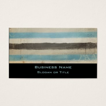 Beach Themed Brown and Blue Horizontal Stripes in Watercolor Business Card