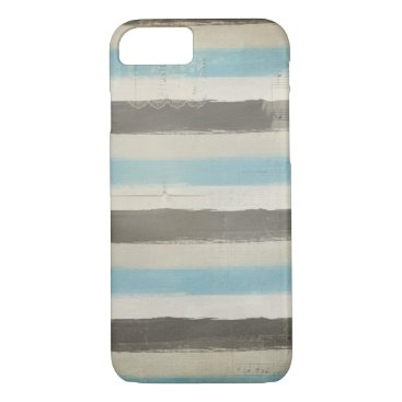 Beach Themed Brown and Blue Horizontal Stripes in Watercolor iPhone 7 Case