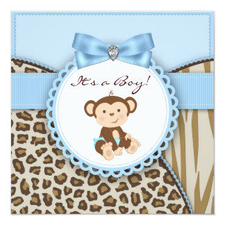Brown and Blue Monkey Baby Boy Shower Card