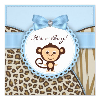 Brown and Blue Monkey Baby Shower Card