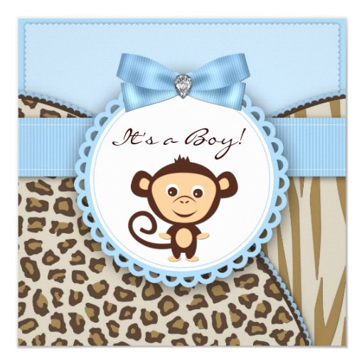 brown and blue monkey baby shower invitation zazzle