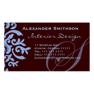 Brown and Blue Monogram S Designer Business Card