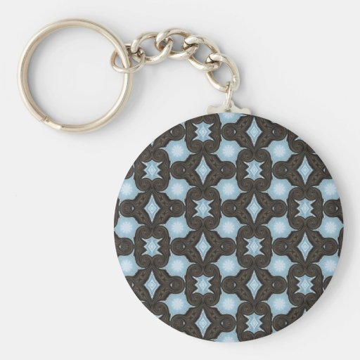 brown and blue pattern keychain