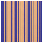 [ Thumbnail: Brown and Blue Pattern of Stripes Fabric ]
